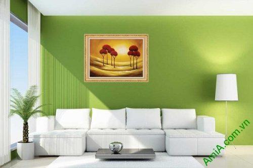 Tranh trang trí phong cảnh in giả sơn dầu hoàng hôn AmiA 587-01