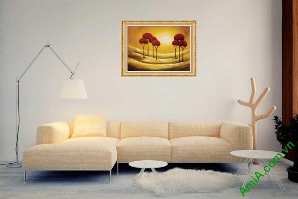 Tranh trang trí phong cảnh in giả sơn dầu hoàng hôn AmiA 587-02
