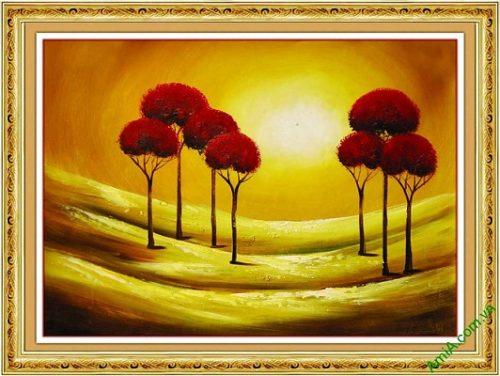 Tranh trang trí phong cảnh in giả sơn dầu hoàng hôn AmiA 587