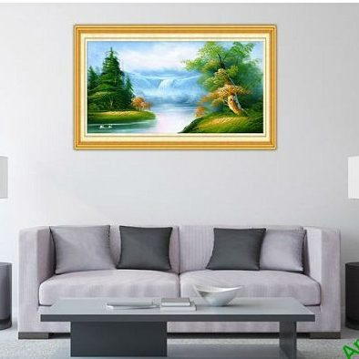 Tranh trang trí phong cảnh in giả sơn dầu thong dong Amia 545-00