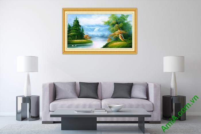 Tranh trang trí phong cảnh in giả sơn dầu thong dong Amia 545-01