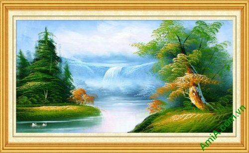 Tranh trang trí phong cảnh in giả sơn dầu thong dong Amia 545