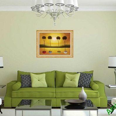 Tranh trang trí phong cảnh hoàng hôn in giả sơn dầu AmiA 588-00