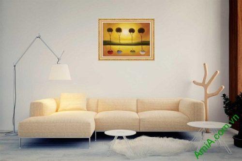 Tranh trang trí phong cảnh hoàng hôn in giả sơn dầu AmiA 588-02