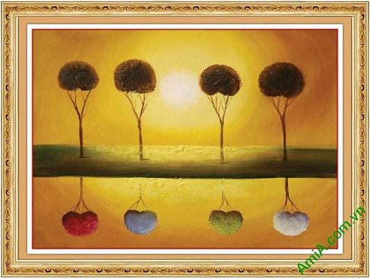 Tranh trang trí phong cảnh hoàng hôn in giả sơn dầu AmiA 588