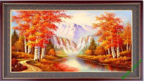 Tranh trang trí phong cảnh mùa Thu in giả sơn dầu Amia 431