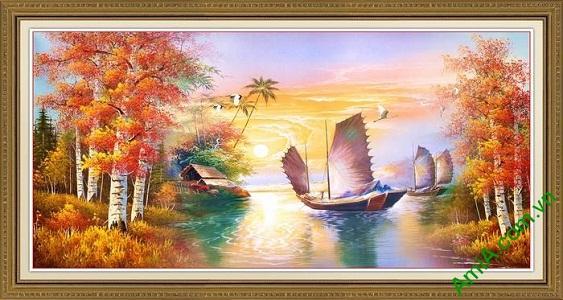 Tranh trang trí phong cảnh mùa Thu thuận buồm xuôi gió