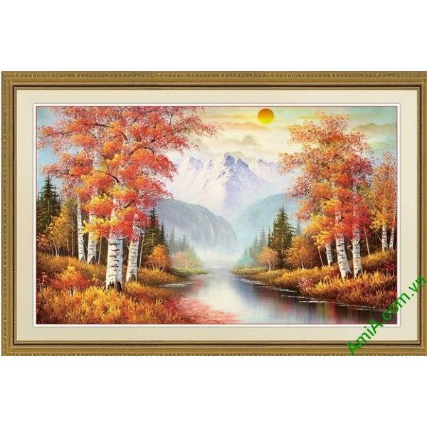 Tranh trang trí phong cảnh sáng mùa thu yên bình Amia 556-00