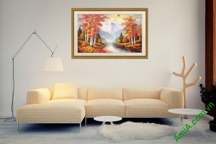 Tranh trang trí phong cảnh sáng mùa thu yên bình Amia 556-01