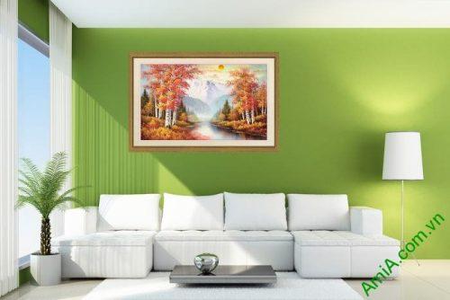 Tranh trang trí phong cảnh sáng mùa thu yên bình Amia 556-02