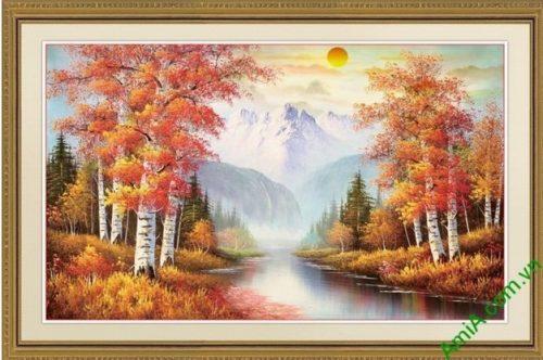 Tranh trang trí phong cảnh sáng mùa thu yên bình Amia 556