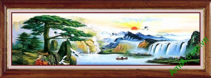 Tranh trang trí phong cảnh sơn thủy hữu tình khổ lớn