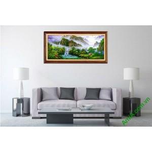 Tranh trang trí phong cảnh thiên nhiên nhà trên núi Amia 546-00