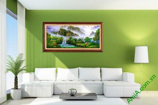 Tranh trang trí phong cảnh thiên nhiên nhà trên núi Amia 546-01