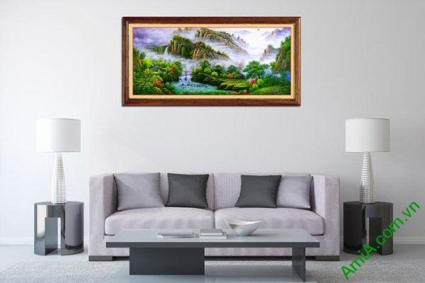 Tranh trang trí phong cảnh thiên nhiên nhà trên núi Amia 546-02
