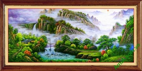 Tranh trang trí phong cảnh thiên nhiên nhà trên núi Amia 546