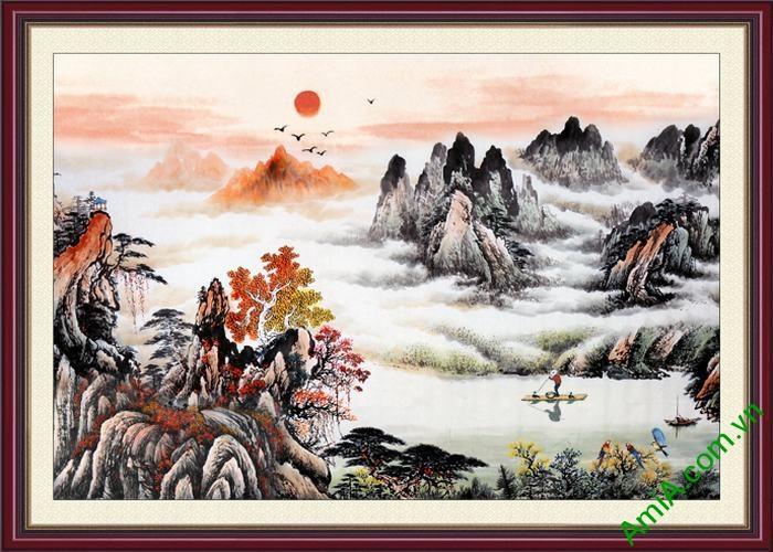 Tranh trang trí phong cảnh in thủy mặc Amia 533