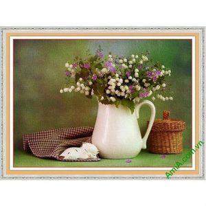 Tranh trang trí phòng khách bình hoa xếp nghệ thuật Amia 578-00