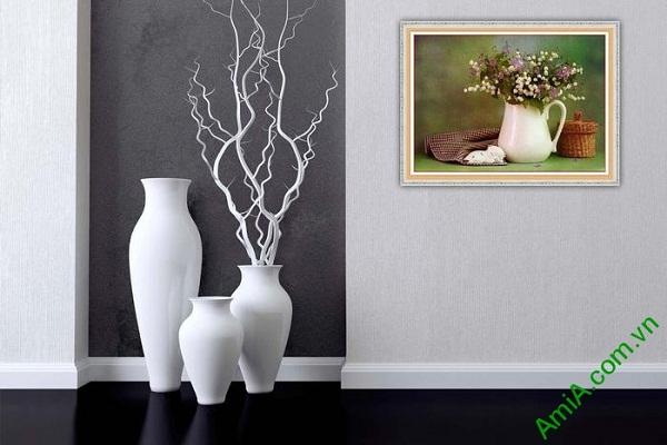 Tranh trang trí phòng khách bình hoa xếp nghệ thuật Amia 578-01