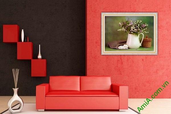 Tranh trang trí phòng khách bình hoa xếp nghệ thuật Amia 578-02
