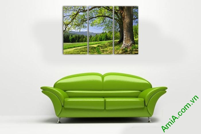 Tranh trang trí phòng khách cây xanh thiên nhiên Amia 529-01