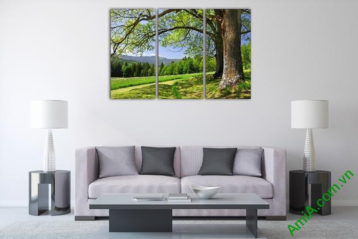 Tranh trang trí phòng khách cây xanh thiên nhiên Amia 529-02