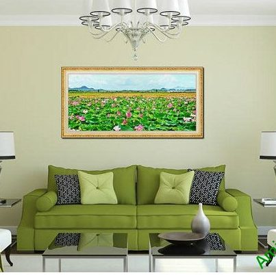 Tranh trang trí phòng khách đầm sen một tấm Amia 561-00