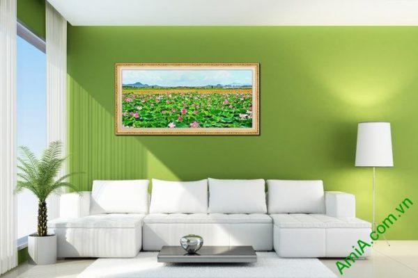 Tranh trang trí phòng khách đầm sen một tấm Amia 561-01