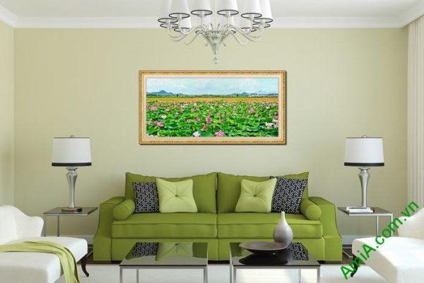 Tranh trang trí phòng khách đầm sen một tấm Amia 561-02