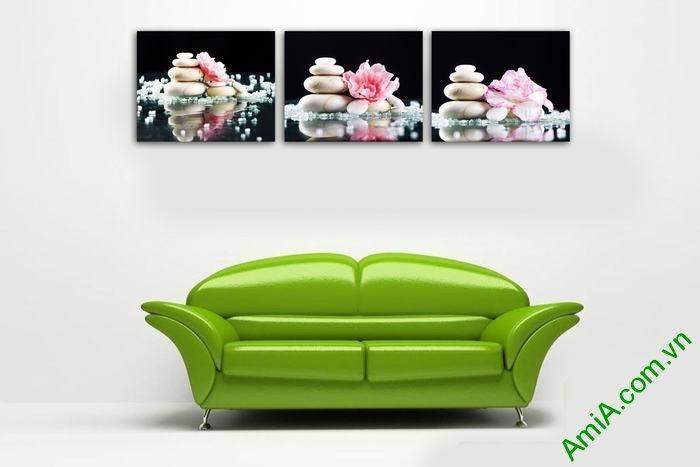 Tranh trang trí phòng khách hiện đại hoa đá Amia 553-02