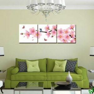 Tranh trang trí phòng khách hiện đại hoa đào bướm Amia 464-00