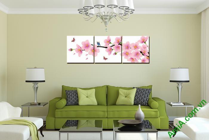 Tranh trang trí phòng khách hiện đại hoa đào bướm Amia 464-01