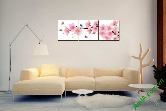 Tranh trang trí phòng khách hiện đại hoa đào bướm Amia 464-02