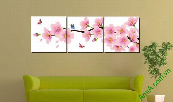 Tranh trang trí phòng khách hiện đại hoa đào bướm Amia 464-03