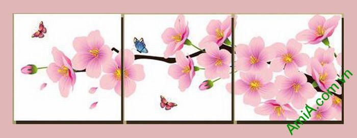 Tranh trang trí phòng khách hiện đại hoa đào bướm Amia 464