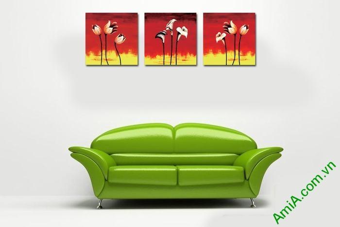 Tranh trang trí phòng khách hiện đại hoa nghệ thuật Amia 537