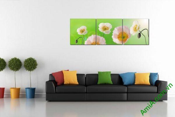 Tranh trang trí phòng khách hiện đại hoa Poppy Amia 457-01