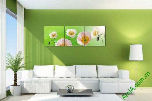 Tranh trang trí phòng khách hiện đại hoa Poppy Amia 457-02