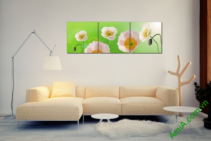Tranh trang trí phòng khách hiện đại hoa Poppy Amia 457-03