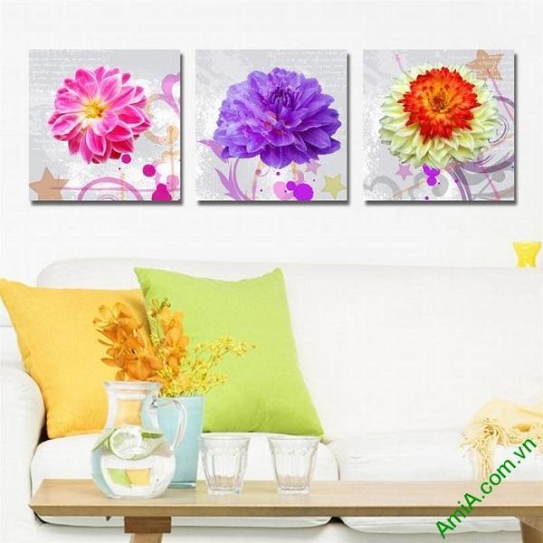 Tranh trang trí phòng khách nghệ thuật hoa cúc thược dược-01