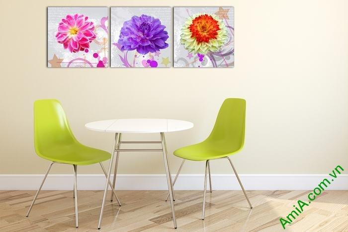 Tranh trang trí phòng khách nghệ thuật hoa cúc thược dược-02