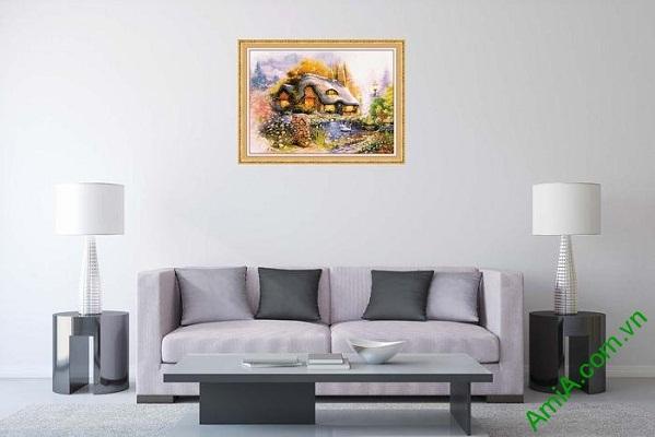 Tranh trang trí phòng khách ngôi nhà hạnh phúc AmiA 586-01