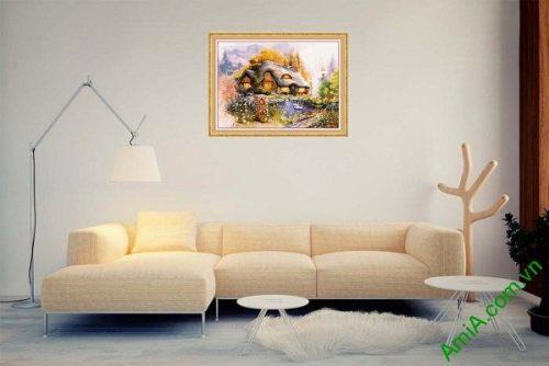 Tranh trang trí phòng khách ngôi nhà hạnh phúc AmiA 586-02