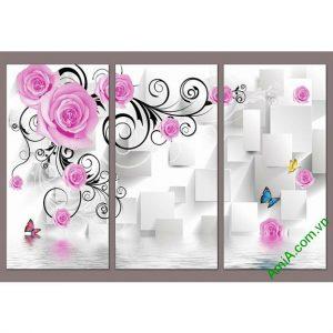 Tranh trang trí phòng khách in nổi 3D hoa hồng Amia 523-00