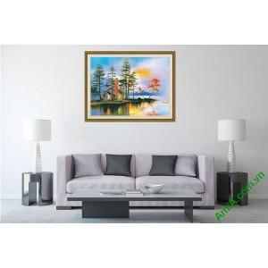 Tranh trang trí phòng khách phong cảnh nhà ven sông Amia 557-00