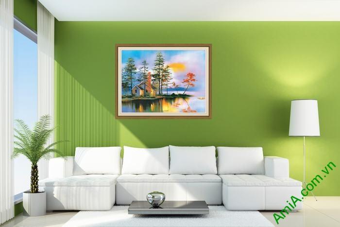 Tranh trang trí phòng khách phong cảnh nhà ven sông Amia 557