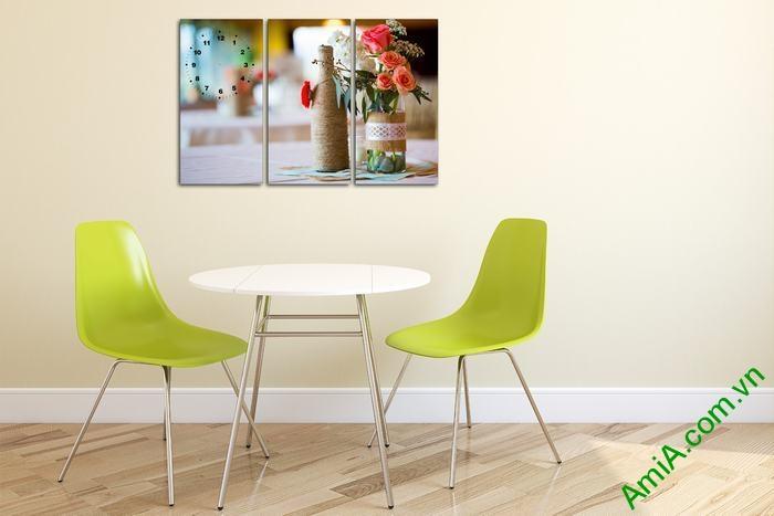 Tranh trang trí phòng khách, phòng ăn hoa hồng Amia 549-01