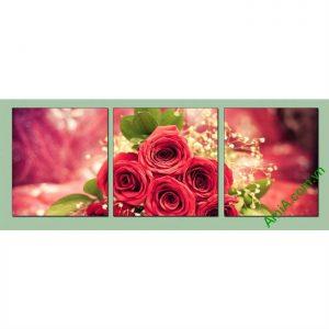 Tranh trang trí phòng khách, phòng ngủ hoa hồng Amia 488-00