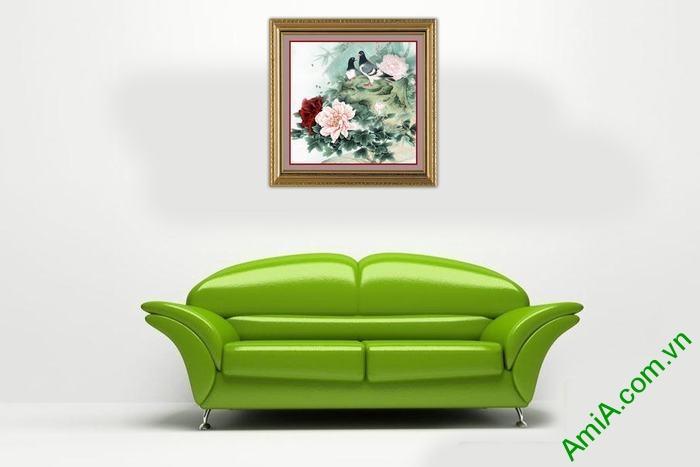 Tranh trang trí phòng khách, phòng ngủ mẫu đơn Amia 530-01