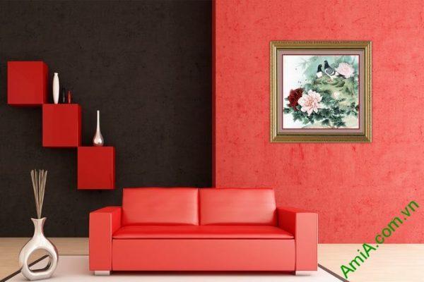Tranh trang trí phòng khách, phòng ngủ mẫu đơn Amia 530-02